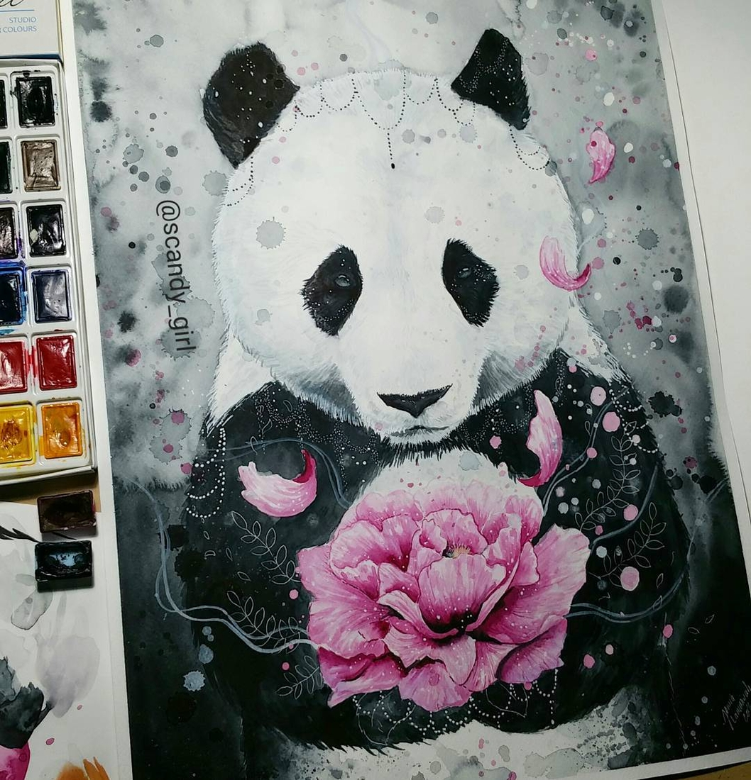 07-Panda-Jonna-Lamminaho-Mixed-Media-Animal-Paintings-www-designstack-co