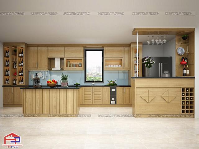 nhà bếp gỗ tự nhiên
