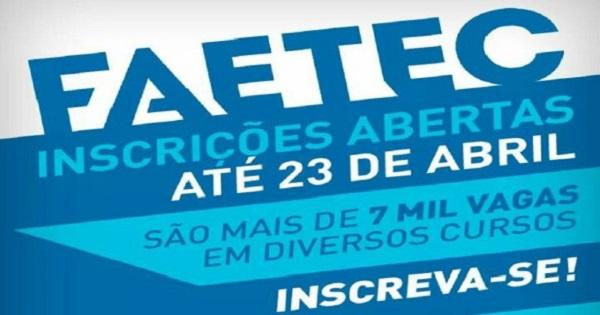FAETEC cursos técnicos gratuitos 23/04