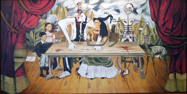 The Wounded Table by Frida Kahlo, Macabre Paintings, Horror Paintings, Freak Art, Freak, Paintings, Horror Picture, Terror Pictures