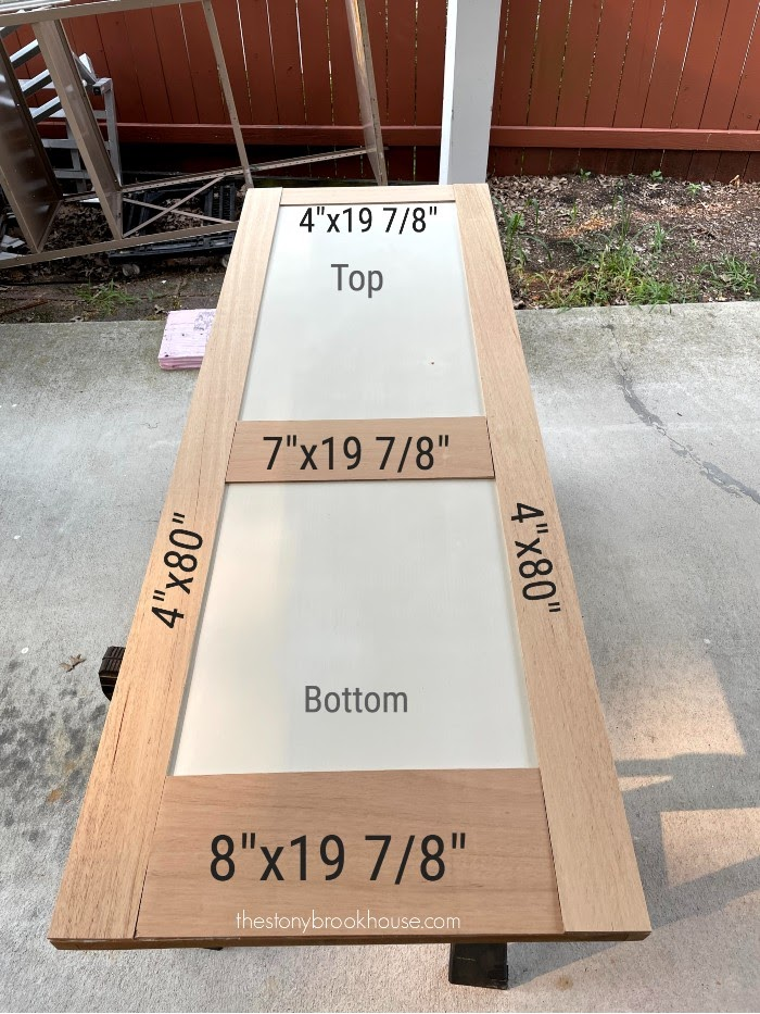 Measurements for underlayment strips on door