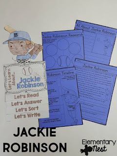 Black History Month Reading Resources- Jackie Robinson reading, online research, childrens books, biographies, and more to help teach Black History Month