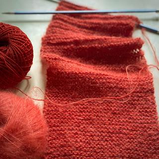 Maschenproben stricken aus Merino und Mohair