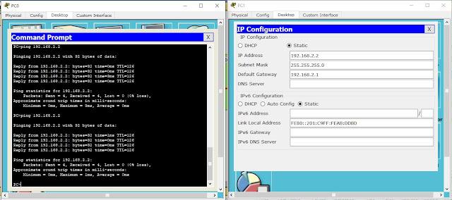 tes koneksi PC0 ke PC1