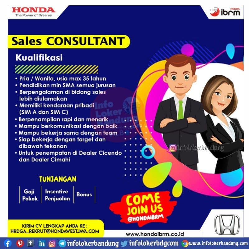Lowongan Kerja Sales Consultan Honda Ibrm Bandung & Cimahi Mei 2021