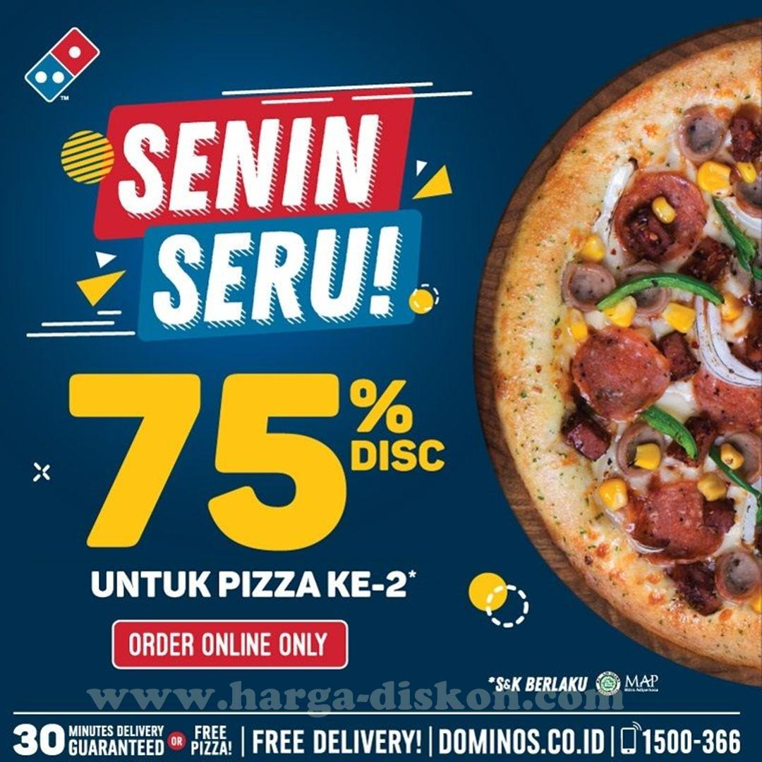 Promo Dominos Pizza Senin Seru Diskon 75 Pizza Ke 2 Harga Diskon
