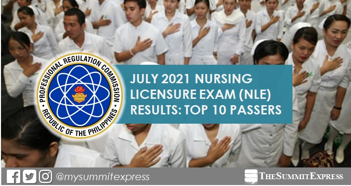 RESULT: July 2021 Nursing board exam top 10 passers