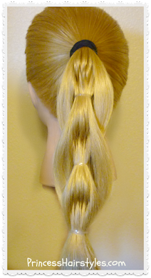 Quilted pull-through braid hairstyle, video tutorial.