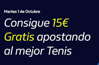 william hill Consigue 15€ Gratis apostando a Tenis 1-10-2019