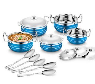 Classic Essentials Stainless Steel Handi Set, 10-Pieces, Blue - Online Trade DD