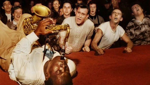 28 Realistically Colorized Historical Photos Make the Past Seem Incredibly Alive - Big Jay McNeely, Olympic Auditorium, 1953