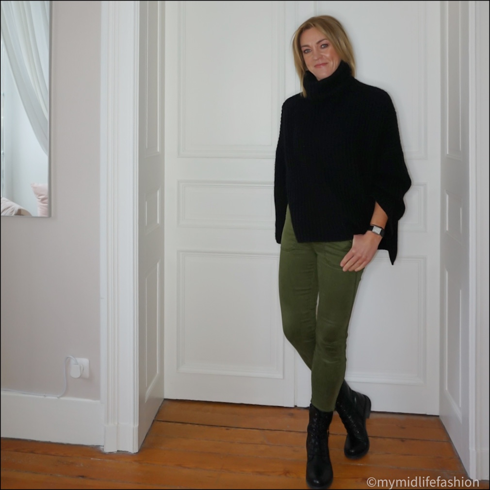 my midlife fashion, Carl Scarpa paulette leather ankle boots, Joseph oversized roll neck jumper, j crew combat trousers