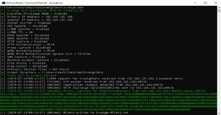 InveighZero : Windows C# LLMNR/mDNS/NBNS/DNS/DHCPv6 Spoofer/Man-In-The-Middle Tool
