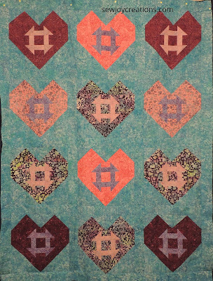 Hearts and Churns quilt Love and Kisses fabric Island Batik Sarah Vanderburgh Sew Joy Creations