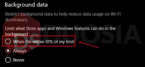 melihat penggunaan internet windows 10