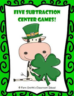 St. Patrick's Day Math Center Games Subtraction