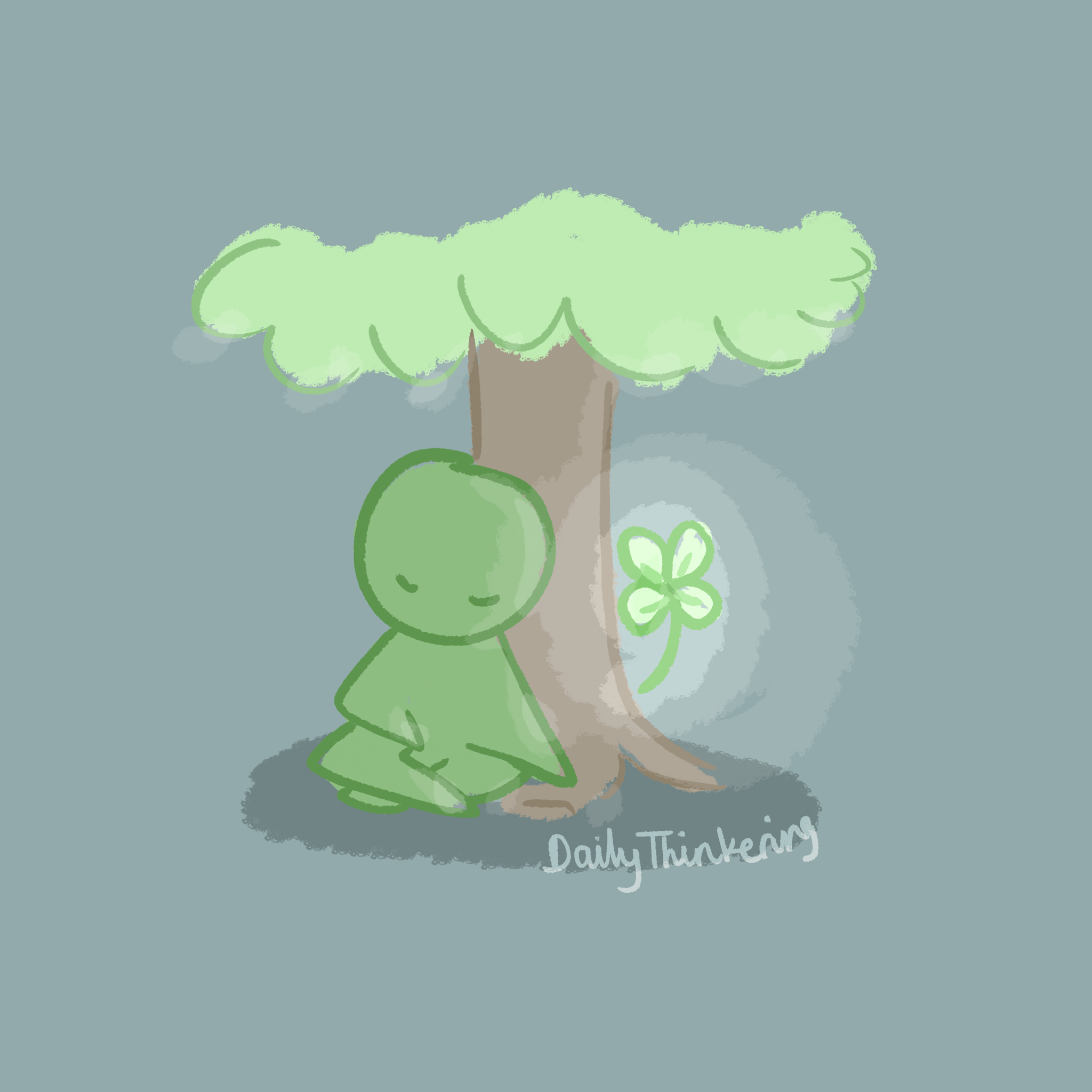 Person sitting next to their lucky clover friend by a tree