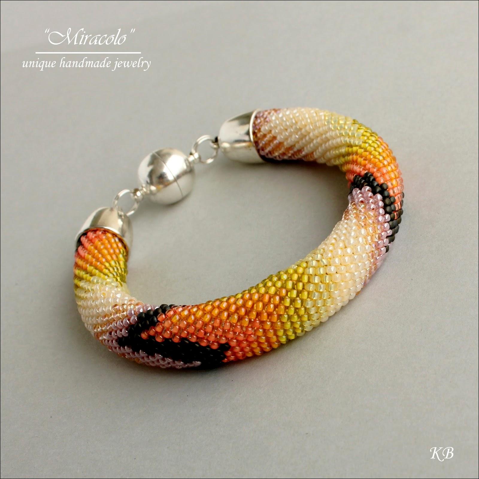 sznur szydełkowo-koralikowy, bead crochet rope