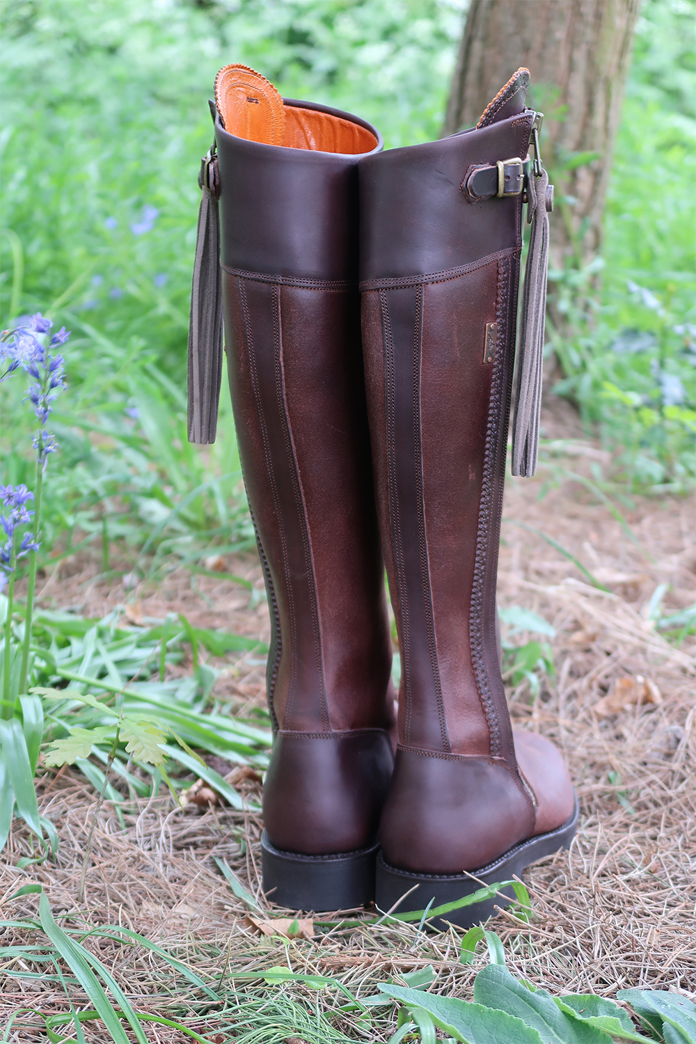 The Spanish Boot Company Tall Flat Sole Boots in Brown Charlotte in England