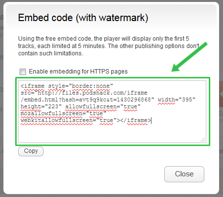 Embed Widget Musik Code with Watermark
