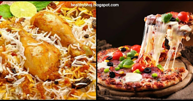 Which one is more healthy biryani or pizza?