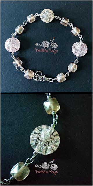 Crackle Beads and Fire Polished Beads Bracelet