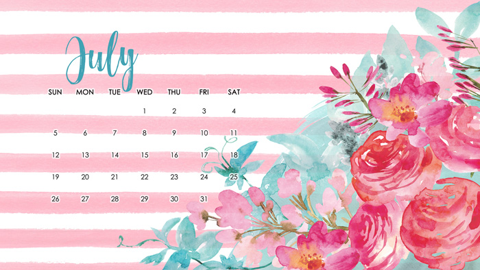 July Desktop Wallpaper Calendar