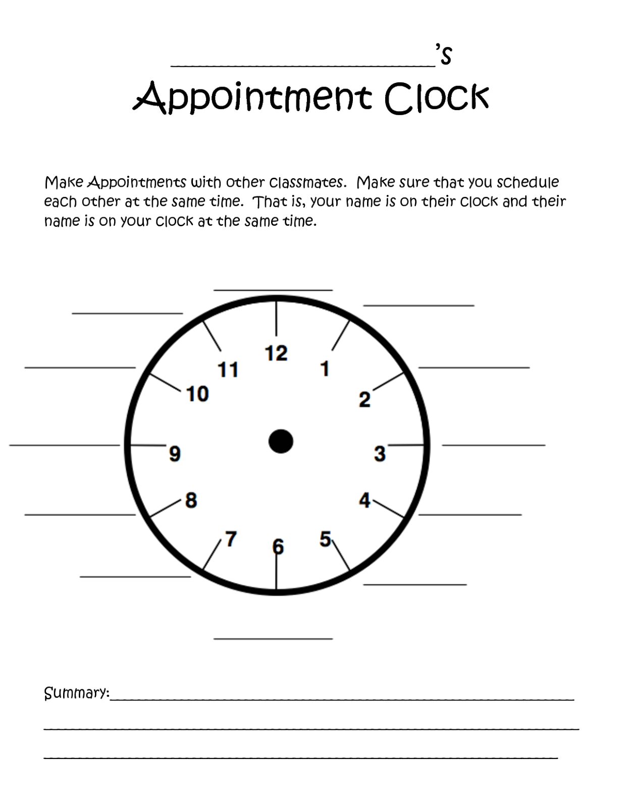 Teaching Strategies Appointment Clock