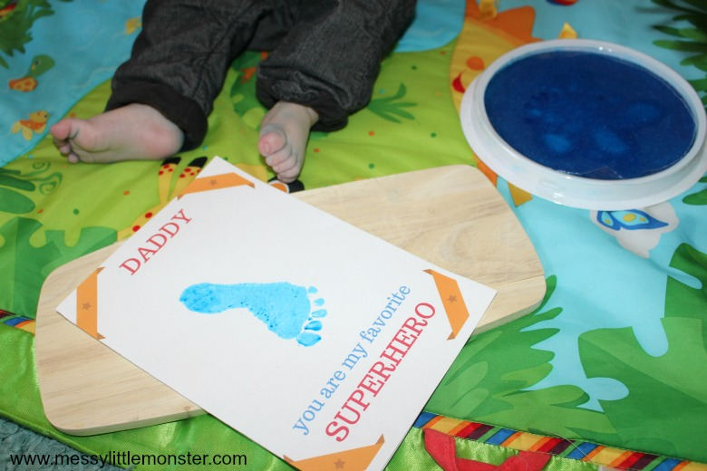 footprint superhero craft with free printable