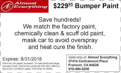 Discount Coupon $229.95 Bumper Paint Sale August 2018