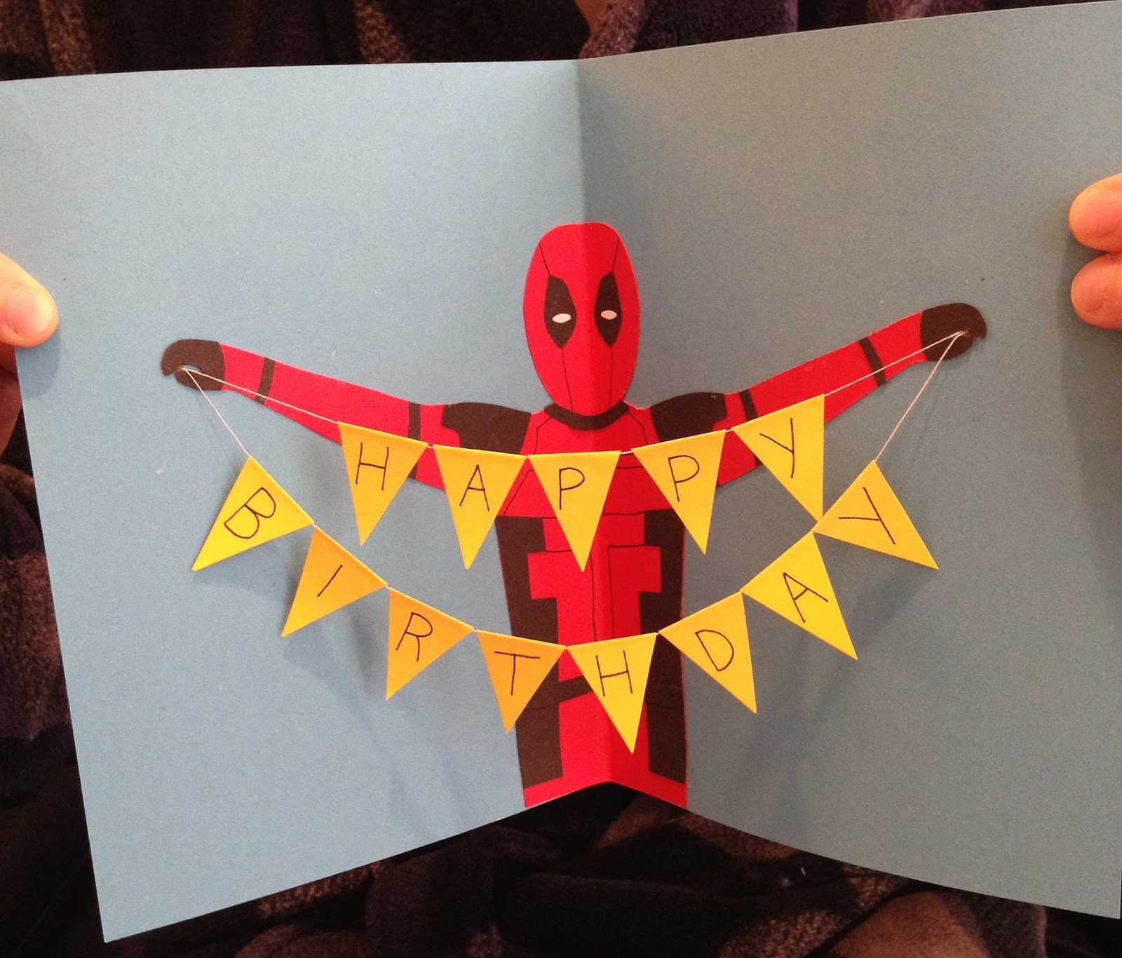 Always arty deadpool birthday card deadpool with a birthday banner id seen the idea of the banner in a card before but having deadpool holding it was a stroke of genius bookmarktalkfo Choice Image
