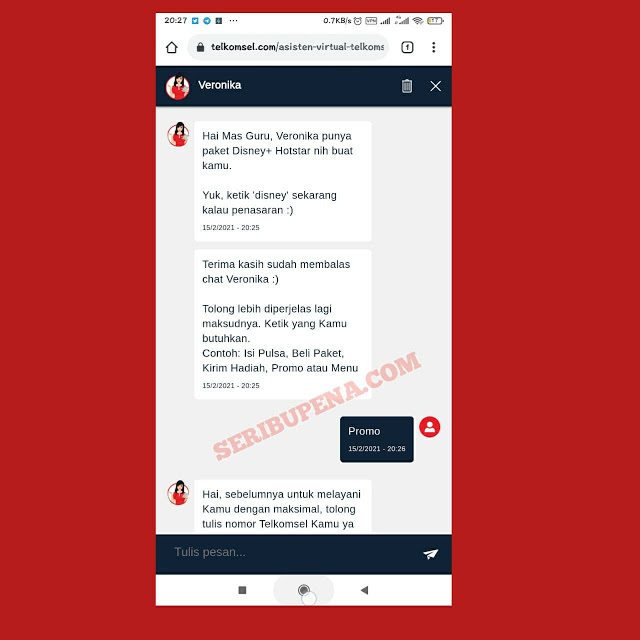 Chat Veronika di Website telkomsel