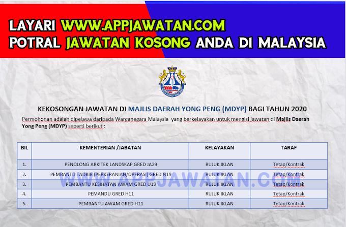 Jawatan Kosong Terkini di Majlis Daerah Yong Peng (MDYP).