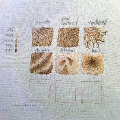 Royal School of Needlework Pet Portrait Class:  Different types of fur embroidered for pet potrait class