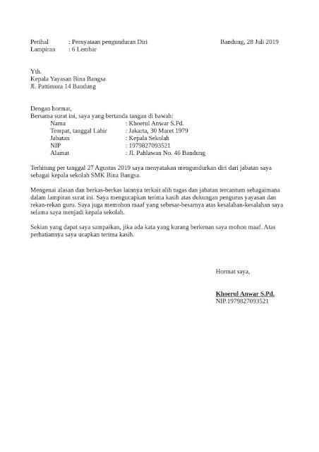 Contoh Surat Pengunduran Diri dari Sekolah (via: detiklife.com)