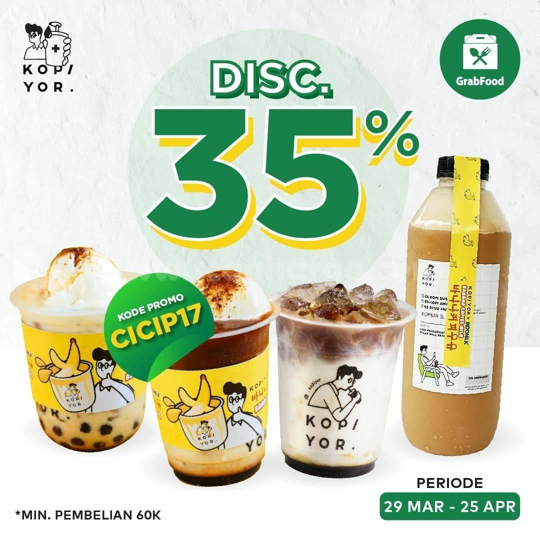 Promo KOPI YOR DISKON 35% via aplikasi GRABFOOD