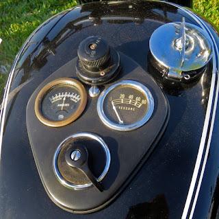 Tank panel of a 1948 Triumph 3T.