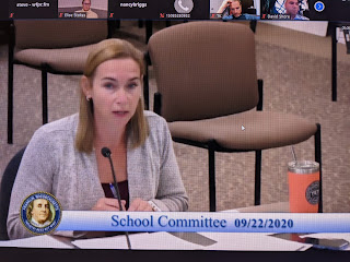 Superintendent Sara Ahern making a point during meeting 9/22/20