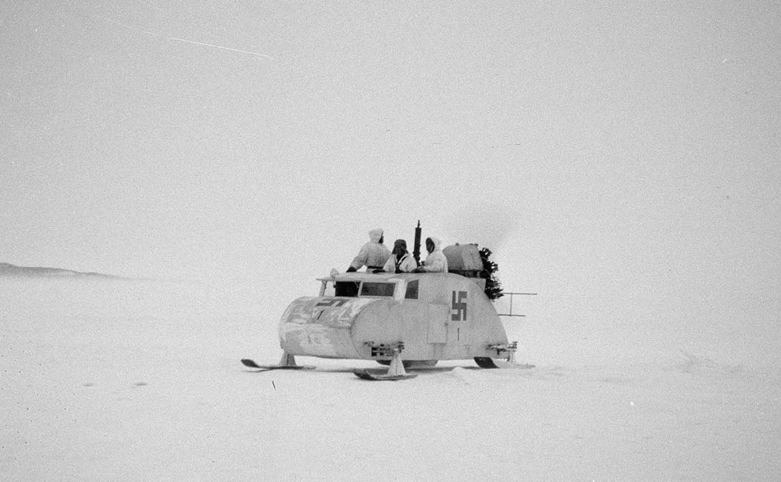 Propeller-driven snowmobile near Haapasaari, Finland. The swastika was used as the official national marking of the Finnish Air Force and Tank Corps between 1918 and 1945.