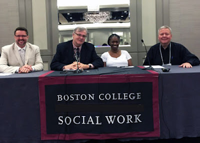 Panelists in Photo: (left to right): Russell Bennett, MSW, Ph.D.- conference co-chair; Vincent Lynch, MSW, Ph.D.- conference founder and present chair;  Gina Brown, MSW- Planning Council Coordinator, New Orleans Regional AIDS Planning Council; Randall Russell, MSW- Board Chair, Professional Association of Social Workers in HIV/AIDS.