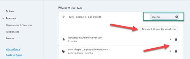 eliminare i cookie di un dato sito da opera
