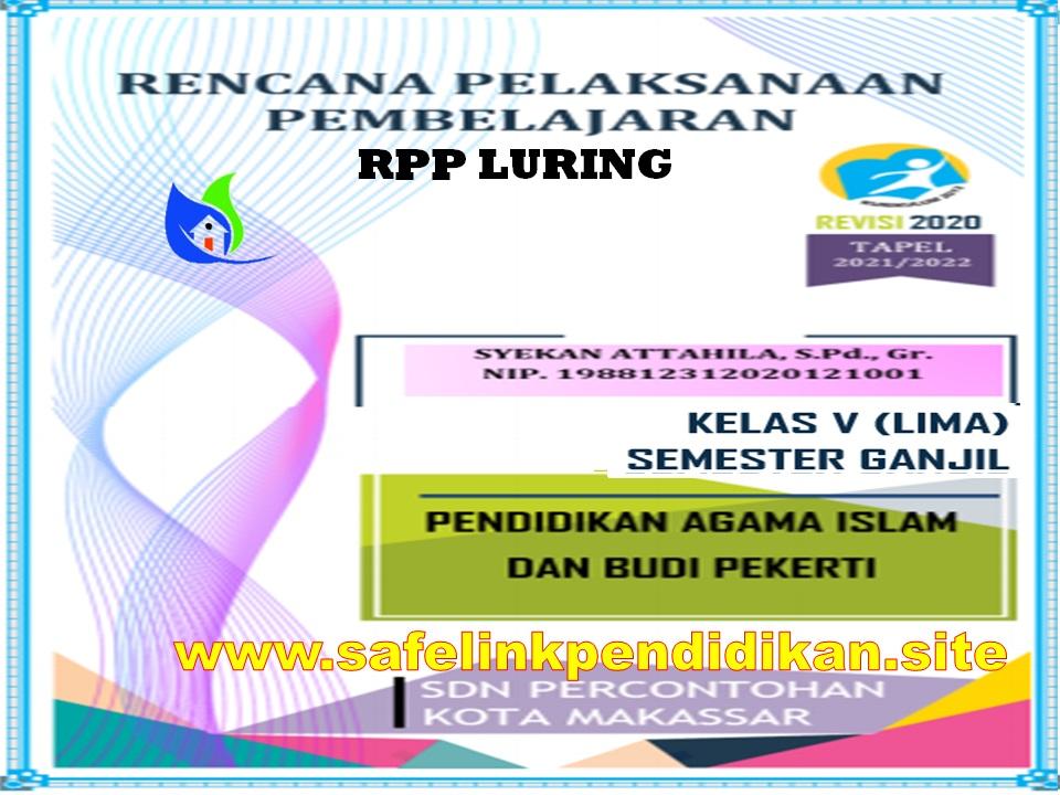 Contoh RPP Luring 1 Lembar PAI Dan BP Kelas 5 SD/MI