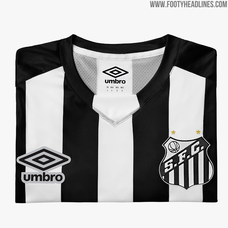 1cba451fd70 The Santos FC 2019 away jersey is black and white striped, with four black  and three white stripes present on the front. The sleeves are white with a  single ...