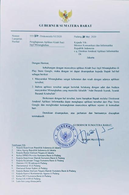 Foto: Gubernur Sumbar Irwan Prayitno. Surati Kominfo, Gubernur Sumbar Minta Aplikasi Injil Berbahasa Minang Dihapus.