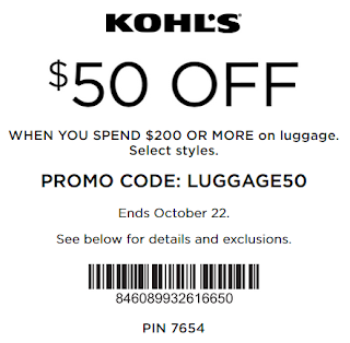 Kohls coupon $50 off $200 Luggage purchase