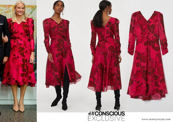 Crown Princess Mette-Marit wore H&M floral print dress from Conscious Exclusive collection