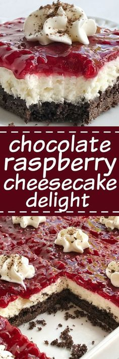 Chocolate raspberry cheesecake delight is an almost no-bake dessert with three delicious layers! A chocolate graham cracker crust, creamy sweet cheesecake middle, and topped with raspberry pie filling
