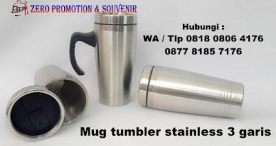 Mug Stainless 3 Garis 450 ML, Mug CT-47, Mug Stainless Ulir 3 garis, Tumbler Stainless Tiga Garis, Souvenir Mug Stainless 3 Garis 450Ml