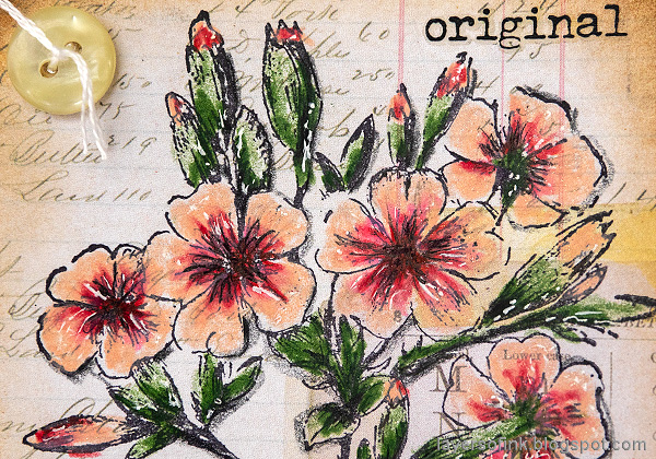 Layers of ink - Vintage Floral Tag Tutorial by Anna-Karin Evaldsson. Add wink of stella.