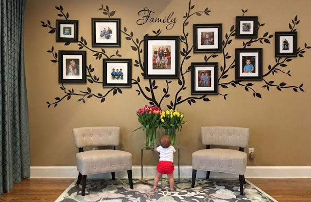 photo frames complement the living room decor